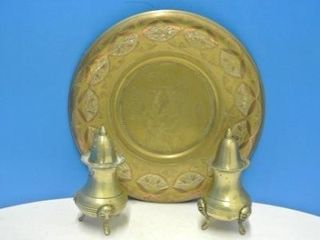 Etched Brass Plate w  Salt   Pepper Shakers