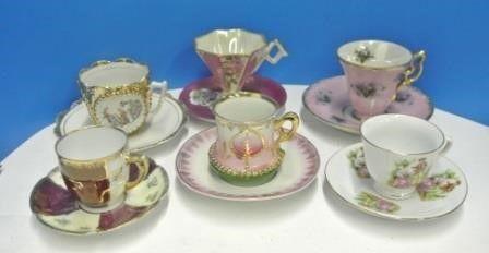 Ornate Demi Tasse Cups   Saucers