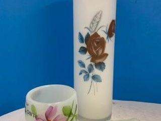 Milk Glass Pipe   Satin Vase