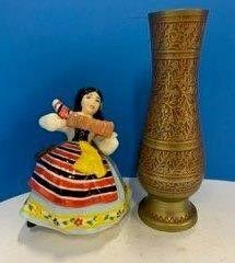 Folklore Figurine   Brass Vase