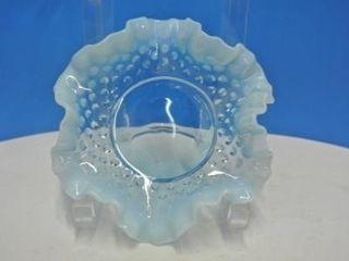 Hobnail Icicle Blue Ruffled Edge Bowl