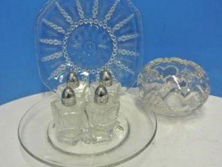 Heart Patterned Glass Rose Bowl lot