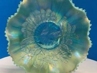 Peacock Motif Carnival Glass Bowl