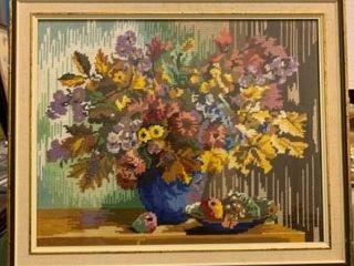 Framed Floral Still life Needlepoint