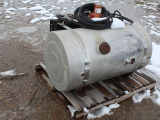 APPROX 50 GAL ALUM FUEL TANK, 12 VOLT GAS BOY PUMP, USED FOR