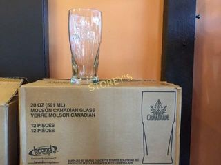 12 New Molson Canadian Beer Glasses