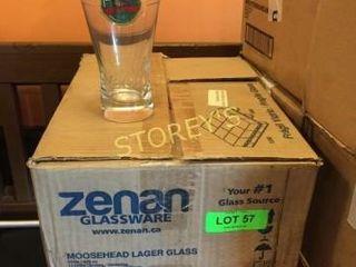 12 New Moosehead Beer Glasses