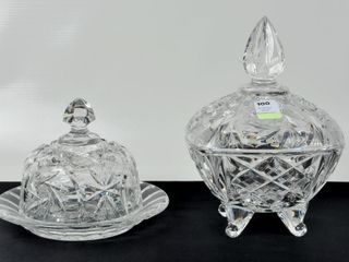 Crystal Pinwheel lot with lidded Candy Dish