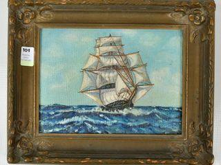 Old Original Oil Paining Ship on High Seas