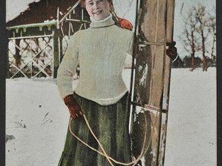 Antique Postcard  The Toboggan Girl  1908