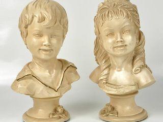 Vintage Universal Statuary Corp  Girl   Boy Bust