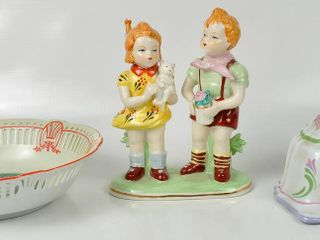 Assorted China with Signed Boy   Girl Figurine