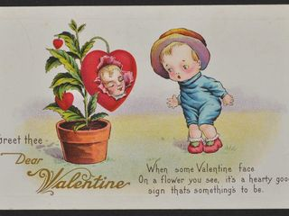 Antique Postcard I Greet the Dear Valentine