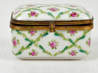 Antique lidded Hand Painted Pill Trinket Box