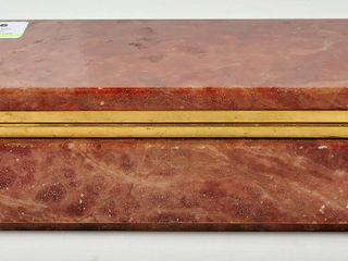 Vintage Alabaster Rust Coloured Hinged Box