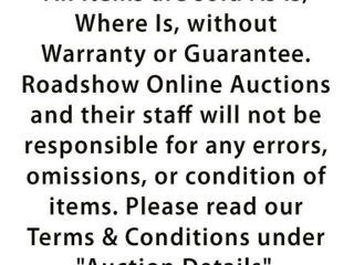 Please Note  All items are sold as is