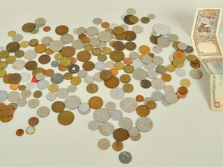 Assorted Coins with 1968 Canadian Dollar