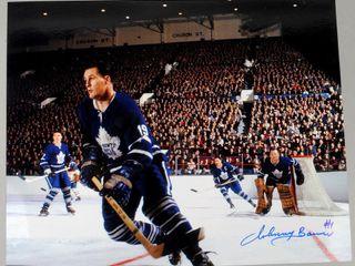 Signed Maple leaf Johnny Bower  1 Photograph