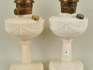 2 Aladdin Kerosene lamps Brass   Cream Glass