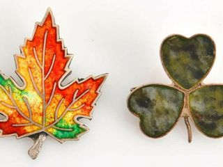 Two Sterling Silver Pins   Maple leaf   Clover