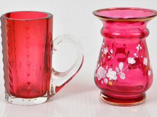 Two Cranberry Glass Toothpick Holders