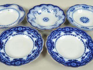 5 Non matching Flo Blue Soup Bowls
