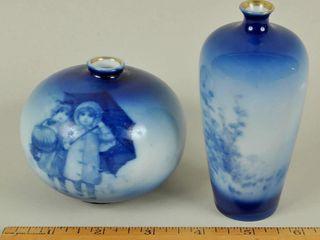 2 Antique Vintage Flo Blue Vases