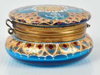 Victorian Hand Painted  Gilded Dresser Box