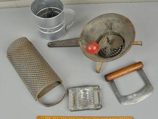 Assorted Vintage Utensils with Vegetable Shredder