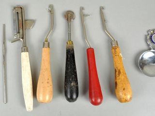 Assorted Vintage Utensils with Rug Hooks