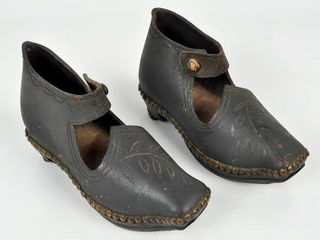 Pair of Miniature leather   Wood Shoes