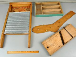 Assorted Vintage Wooden Items with Washboard