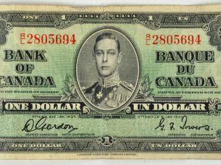 Bank of Canada 1937 One Dollar Bill As Found