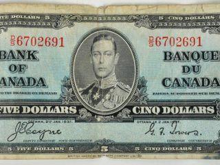 Bank of Canada 1937 Five Dollar Bill As Found