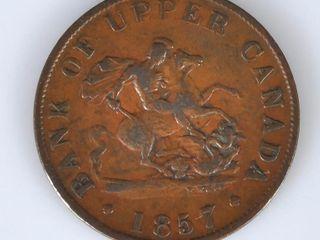 1857 Bank of Upper Canada Bank Token Half Penny