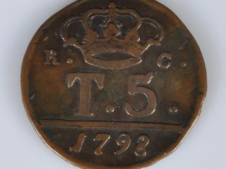 1798 Italy Naples And Sicily 5 Tornesi Coin