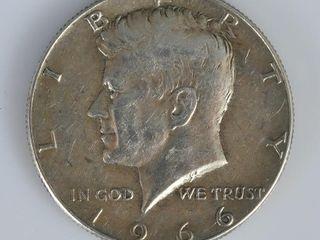 1966 U S A  Kennedy Half Dollar Coin