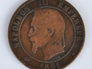 1861 French Coin 10 Centimes Napoleon III