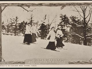 Antique Postcard Snowshoeing in High Park