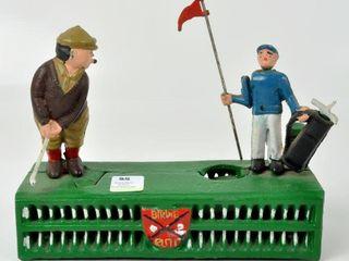 Vintage Repro Cast Iron Golf Birdie Putt Bank