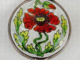 Sterling Silver Art Nouveau Guilloche Pill Box