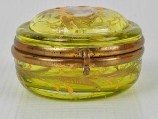 lidded Vaseline Glass Dresser Trinket Box