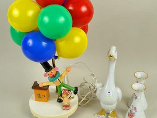 Assorted lot with Vintage Clown lamp