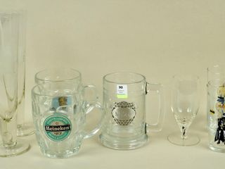 Assorted Glasses with 2 Etched Pilsners