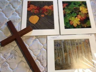 3 Fall Prints  11 x 14  Matted and Wood Cross