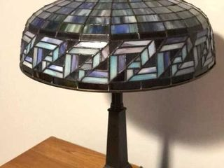 lamp w  leaded Glass Shade