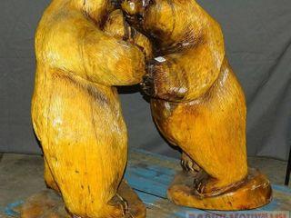 Super Cool Hand Carved Wood Bear Cub Sculpture.