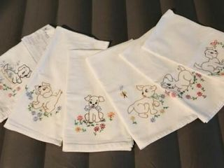 Puppies Tea Towels  hand embroidered