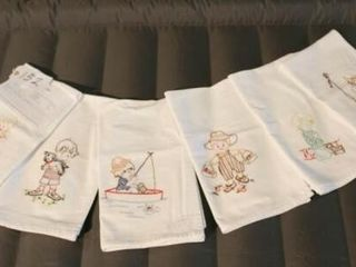 little Boy Tea Towels  hand embroidered