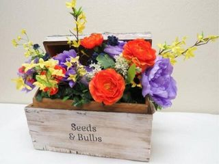 Rustic Chest with flowers and antique sachets